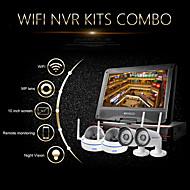 """szsinocam®4ch 720p 1.0MP WiFi NVR-Kits, mit 10,1 """"LED, 2pcs Metall-Kuppel + 2pcs wasserdichte WiFi IP-Kamera, Unterstützung p2p"""