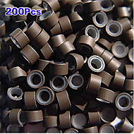 5mm Silicone Lined MICRO Rings Link Crimp Beads I/U/Flat tip Hair Extensions 200pcs Brown