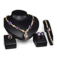 Schmuck 1 Paar Ohrringe 1 Armreif Halsketten Ringe Kristall Hochzeit Party Krystall Aleación 1 Set Damen Lila Hochzeitsgeschenke