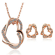 May Polly  Are full of diamond Double Heart Necklace Earrings Set