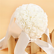 Satin Foam Rose Flower Wedding Bouquet with Pearl for Bridesmaid (27*19*19cm)
