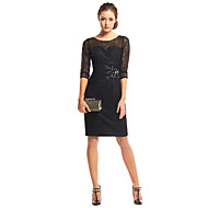 Cocktail Party Dress Sheath / Column Scoop Knee-length Lace with Appliques / Lace / Ruching