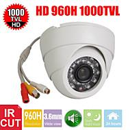 CCTV 3,6 milímetros 1000tv 24IR leds de d / n 1/3 CMOS IR-cut cúpula de segurança interna câmera com áudio