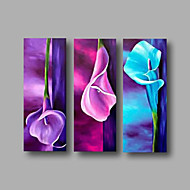 Maalattu Abstrakti Kukkakuvio/Kasvitiede Vaakasuora,Moderni 3 paneeli Kanvas Hang-Painted öljymaalaus For Kodinsisustus