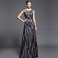 Formal Evening Dress - Multi-color Sheath/Column V-neck Floor-length Charmeuse / Sequined