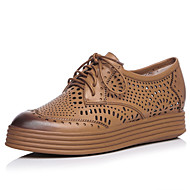 Women's Shoes Nappa Leather Platform Comfort / Round Toe Oxfords Outdoor / Casual Black / Brown / Red / Gray