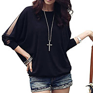 Women's Batwing Round Neck Sheer Mesh Cape Sleeve Loose T-Shirt