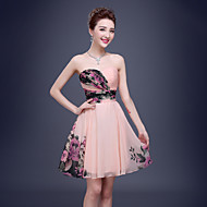 Cocktail Party Dress A-line Sweetheart Short / Mini Chiffon with Draping / Side Draping