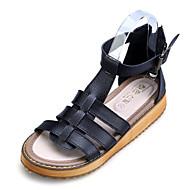 Women's Spring / Summer / Fall Comfort / Slingback / Open Toe Leather Casual / Dress Flat Heel Buckle Black / White / Silver