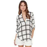 Vrouwen Eenvoudig Herfst Overhemd,Casual/Dagelijks Print V-hals Driekwart mouw Wit Polyester Medium