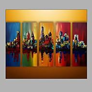 Pintados à mão Paisagens AbstratasModerno 5 Painéis Tela Pintura a Óleo For Decoração para casa