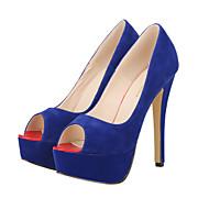 FemininoSaltos / Peep Toe / Plataforma / Bico Aberto-Salto Agulha-Preto / Azul / Vermelho / Amêndoa-Tecido-Social / Casual / Festas &