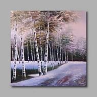 listo para colgar estirada pintura al óleo de la lona de la pared del arte de abedul de plata árboles forestales nieve pintado a mano