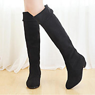 Women's Spring Fall Winter Fashion Boots Fabric Outdoor Casual Low Heel Ruched Black Brown