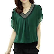 Women's Solid Red/Black/Green Blouse, Plus Size Beaded V Neck Short Petal Sleeve