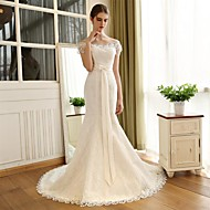 Trumpet / Mermaid Wedding Dress Chapel Train Off-the-shoulder Lace / Satin with Bow / Lace