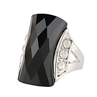 Women's Stylish Elegance Luxury Style Square Multi-Slice Large Gemstone Alloy Diamond Ring