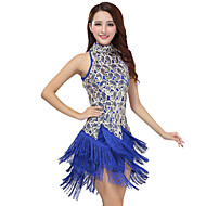 Latin Dance Dresses Women's Performance Polyester / Sequined Tassel(s) 1 Piece Black / Purple / Red / Royal Blue / White