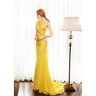 Formal Evening Dress Sheath / Column One Shoulder Sweep / Brush Train Chiffon with Beading / Side Draping