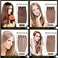 """Long 16""""-24"""" Full Head Clips in 100% Remy Human Hair Extensions 15 Colors Choose"""