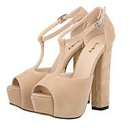 Women's Shoes Fabric Chunky Heel Heels / Peep Toe / Platform Sandals Wedding / Party & Evening /  Green /