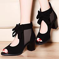 Черный / Синий - Женская обувь - Для офиса / Для праздника / На каждый день - Синтетика - На толстом каблуке -На каблуках / С открытым