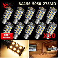 10x Warm White Ba15s 1156 RV Reverse 27 LED SMD Car Rear Turn Light Signal Bulbs