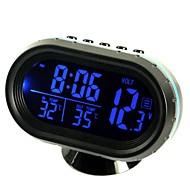 ziqiao multifunktionel bil elektronisk ur / termometer / voltmeter med nat lys hvidt glas skærm (tilfældige farver)