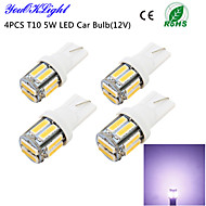 youoklight® 4pcs t10 5w 400lm 10 smd7020 6000k luz blanca llevó la luz de bulbo del coche (12v)