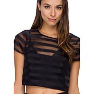 Women's Striped Black Blouse , Round Neck Short Sleeve