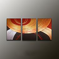 Kézzel festett AbsztraktModern Három elem Vászon Hang festett olajfestmény For lakberendezési