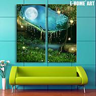 E-HOME® Stretched LED Canvas Print Art The Moonlight Fantasy Forest LED Flashing Optical Fiber Print SET OF 2