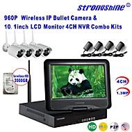 strongshine® trådlös IP-kamera med 960p / IR / vattentät och NVR med 10.1inch lcd / 2TB övervakning HDD kit