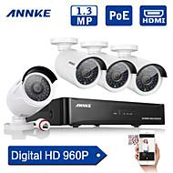 annke® 4 canaux HD réseau d'accueil du système de kit caméra de sécurité IP 960p NVR de poe 1.3 mp extérieure