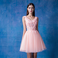 Cocktail Party / Formal Evening Dress Ball Gown V-neck Short / Mini Lace / Tulle / Sequined withBeading / Flower(s) / Lace / Pearl