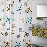 180*180 Lazy Sea Star and Shell Shower Curtain PEVA Waterproof Thickening Bath Curtain with 12 Hookers