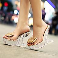 Koženka-Platformy-Dámské-Černá Stříbrná Zlatá-Svatba Šaty Běžné-Platformy Translucent Heel