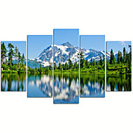 VISUAL STAR®5 Panel Snow Mountain Picture Print  on Canvas Lake Landscape Wall Art for Living Room Decor Ready to Hang