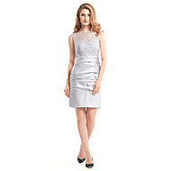 Lanting Bride Sheath / Column Mother of the Bride Dress Short / Mini Sleeveless Lace / Satin with Lace