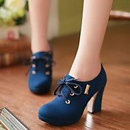 Women's Spring Summer Fall Platform Leatherette Office & Career Dress Casual Chunky Heel Platform Lace-up Black Blue Red