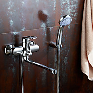 Wall Mounted Bathroom Faucet of Solid Brass Body Chrome Finished Surface Bathtub&shower Faucet K1753