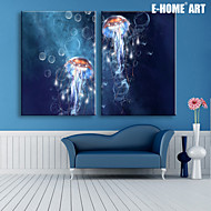 E-HOME® Stretched LED Canvas Print Art Jellyfish LED Flashing Optical Fiber Print Set of 2