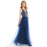 Lanting Bride A-line Mother of the Bride Dress Ankle-length Sleeveless Tulle with Beading / Ruching