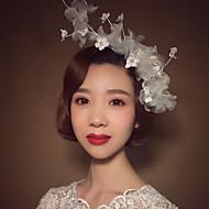 Capacete Flores Casamento / Ocasião Especial Imitação de Pérola / Linho Mulheres Casamento / Ocasião Especial 1 Peça