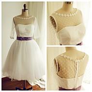 A-line Wedding Dress Tea-length Bateau Tulle with Appliques / Sash / Ribbon