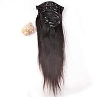 gorąca sprzedaż peruwiański Spinka do włosów w przedłużenie włosów ludzkich splot przedłużacza Silky prosty 8szt / set przedłużenie 100g