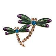 Fashion Women Stone Set Enamel Dragonfly Brooch