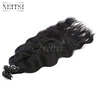"""היתוך קרטין neitsi 20 """"/ 1G של u מסמר הרחבות קצה גל טבעי 100% שיער אדם 1b #"""