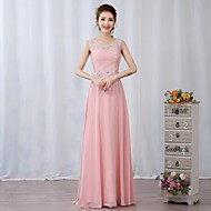 Cocktail Party / Formal Evening Dress A-line Jewel Floor-length Chiffon / Lace