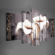 Hand-painted Wall Art Black Pure White Lilies home decoration Landscape   Oil Painting on Canvas 5pcs/set No Frame